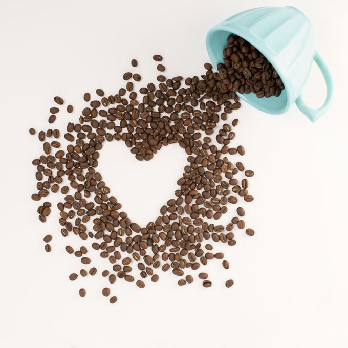 Coffee beans shaped in a heart
